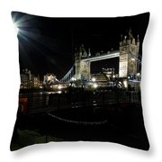 Tower Bridge And Riverside Night View  Throw Pillow