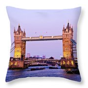 Tower Bridge In London At Dusk Throw Pillow