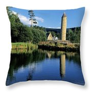 Tower Near A Lake, Round Tower, Ulster Throw Pillow