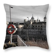 Tower Of London With Tube Sign Throw Pillow