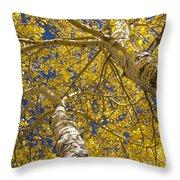Towering Autumn Aspens With Deep Blue Sky Throw Pillow