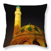Towering Mosque In The Night Throw Pillow by Rick Frost