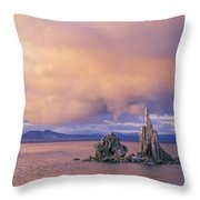 Towers Of Calcium Carbonate Called Tufa Throw Pillow