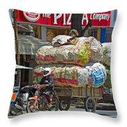 Towing A Big Load Throw Pillow