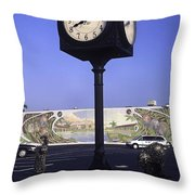 Town Clock Throw Pillow by Sally Weigand