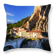 Town Of Sisteron In Provence France Throw Pillow