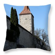 Town Wall And Tower - Rothenburg Throw Pillow