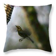 Townsend Warbler In Flight Throw Pillow