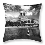 Toy Boating In A Parisian Park Bw Throw Pillow