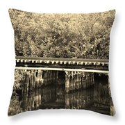 Track On The River In Sepia Throw Pillow