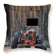 Tractor And The Barn Throw Pillow