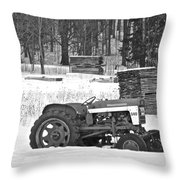 Tractor At The Mill  Throw Pillow