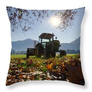 Tractor In Backlight Throw Pillow