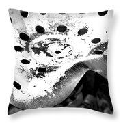 Tractor Seat Close Up Black And White Throw Pillow