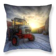 Tractor Sunrise Throw Pillow