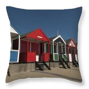 Traditional Beach Huts On The Seafront Throw Pillow
