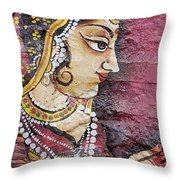 Traditional Painting On A Wall Jodhpur Throw Pillow