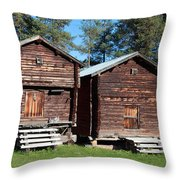 Traditional Swedish Storage Buildings Throw Pillow