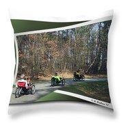 Trail Of Trikes Throw Pillow