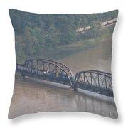 Train Along New River 3 Throw Pillow