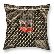 Train Behind A Fence Throw Pillow
