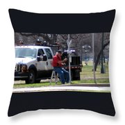 Train Crossing Throw Pillow