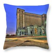 Michigan Central Train Depot Station Detroit Mi Throw Pillow