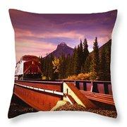 Train Going Over A Bridge Banff Throw Pillow