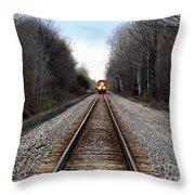 Train Head On Throw Pillow