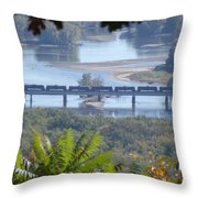 Train On The Mississippi Throw Pillow