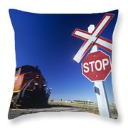 Train Passing Railway Crossing Throw Pillow