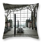 Train Station Waiting Area Throw Pillow
