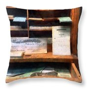 Train Ticket Office Throw Pillow by Susan Savad