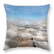 Train Tracks Into The Clouds Throw Pillow