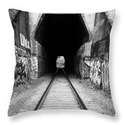Train Tunnel At The Muir Trestle In Martinez California . 7d10235 . Black And White Throw Pillow