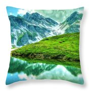 Travelers Rest Swiss Alps Throw Pillow