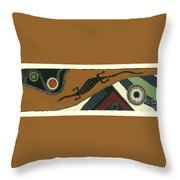 Traveling Goanna Throw Pillow by Pat Saunders-White
