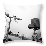 Traveling In Style . Black And White Throw Pillow