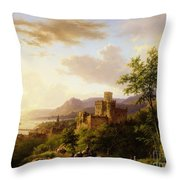 Travellers On A Path In An Extensive Rhineland Landscape Throw Pillow