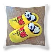 Travelling Pandas Series. Dutch Weekend. Cozy Dutch Clogs. Square Format Throw Pillow