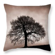 Tree Against A Stormy Sky Throw Pillow