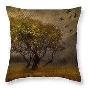 Tree And Birds Throw Pillow by Svetlana Sewell