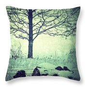 Tree And Fence In The Fog And Snow Throw Pillow