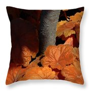 Tree And Pumpkin-like Leaves Throw Pillow
