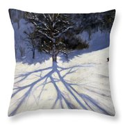 Tree And Two Tobogganers Throw Pillow by Andrew Macara
