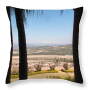 Tree Blocking View Of Garden And Valley And Ice-capped Mountains Throw Pillow