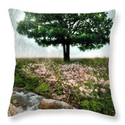 Tree By Stream Throw Pillow