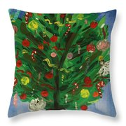 Tree In The Blue Room Throw Pillow
