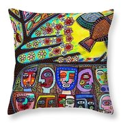 Tree Of Life People Blue Bird Throw Pillow