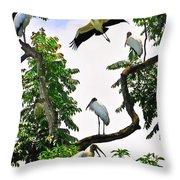 Tree Of Storks  Throw Pillow